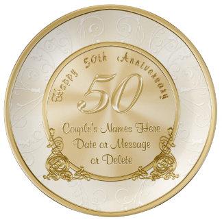 50.os regalos del aniversario de boda del platos de cerámica