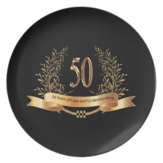 50.os regalos felices del aniversario de boda plato para fiesta