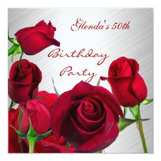 """50.os rosas rojos de la fiesta de cumpleaños de la invitación 5.25"""" x 5.25"""""""