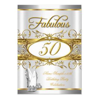 """50.os tacones altos fabulosos de la plata del oro invitación 5"""" x 7"""""""
