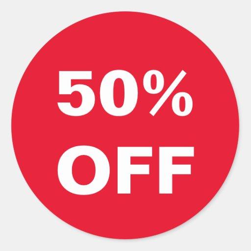 50 Percent Off Price Retail Store Sales Stickers Zazzle