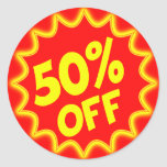 50 PERCENT OFF RETAIL LABEL STICKERS