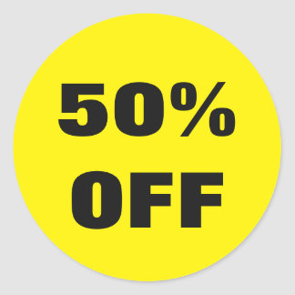 50 Percent Off stickers for store sales promotions