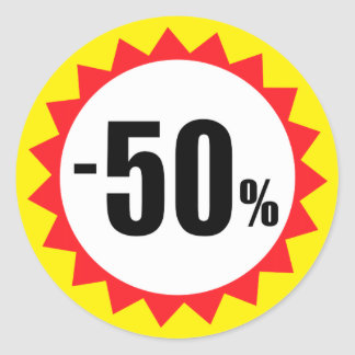 50 percent sale discount stickers red white yellow