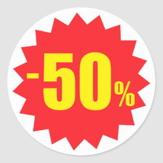 50 percent sale discount stickers white and red