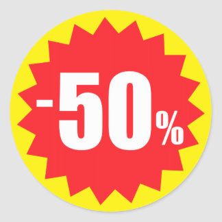 50 percent sale discount stickers yellow and red