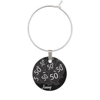 50 personalice el 50.o cumpleaños negro del globo identificador de copa