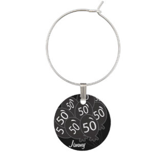 50 Personalize Black Balloon | 50th Birthday Wine Charms