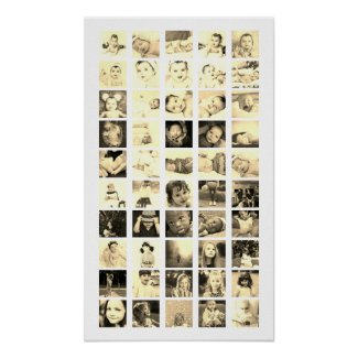 50 Photo Collage Personalized (Sepia) Poster