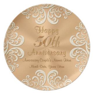 50 placas de oro del aniversario de boda plato de comida