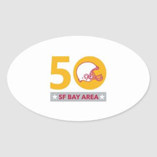 50 Pro Football Championship SF Bay Area Oval Sticker
