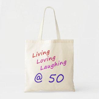 50 que se ríen de amor vivos bolsa tela barata