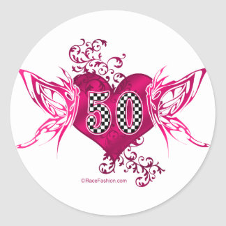 50 racing number butterflies classic round sticker