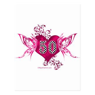 50 racing number butterflies postcard