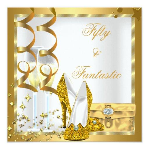 50 rizados y fiesta de cumpleaños fantástica del invitación 13,3 cm x 13,3cm
