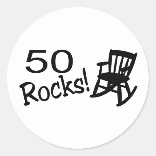 50 rocas (eje de balancín) pegatina redonda