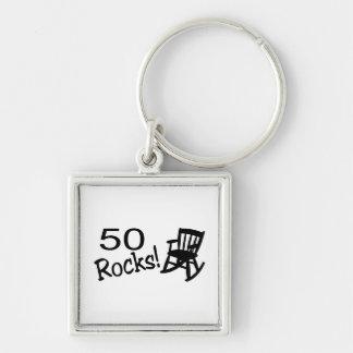 50 Rocks (Rocker) Silver-Colored Square Keychain