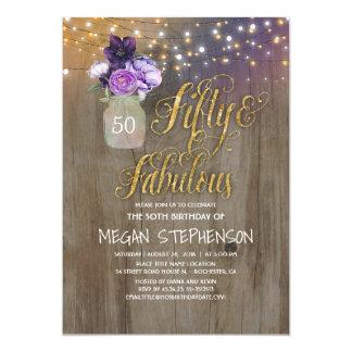 50 Rustic Birthday - Purple Flowers Mason Jar Gold Card