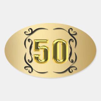 50 sellos y pegatinas del oro calcomanías ovales