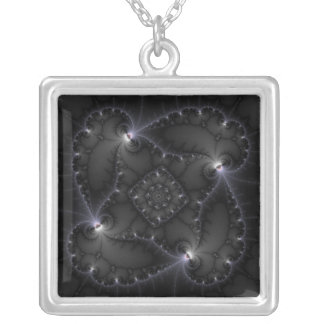 50 Shades Of Grey - Fractal Art Square Pendant Necklace