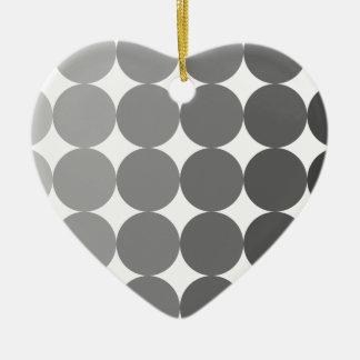 50 sombras de círculos grises adorno navideño de cerámica en forma de corazón