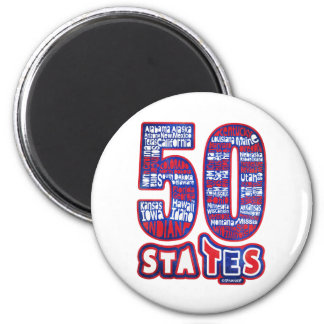 50 STATES THE USA 2 INCH ROUND MAGNET