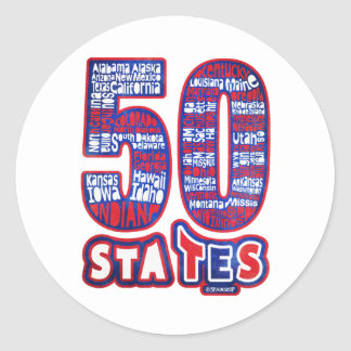 50 STATES USA PEGATINA REDONDA