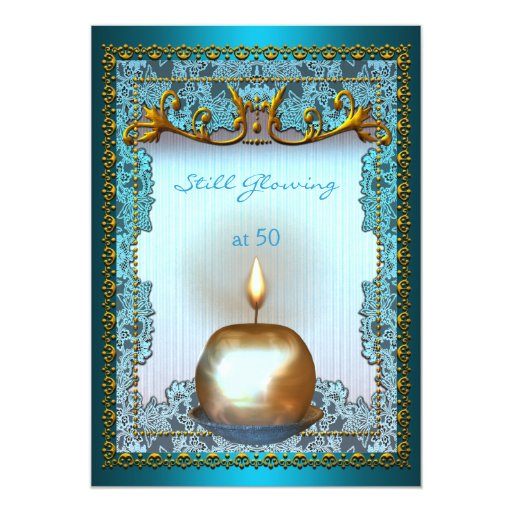 50 Still Glowing Birthday Teal Gold Candle Glow 5x7 Paper Invitation Card