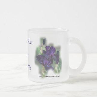 50 th Anniversary Iris Mug, Cup- change as desired 10 Oz Frosted Glass Coffee Mug