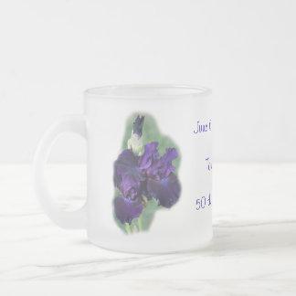 50 th Anniversary Iris Mug, Cup- change as desired Frosted Glass Coffee Mug