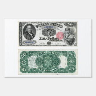 $50 United States Note Legal Tender Series 1880 Lawn Sign