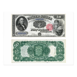 $50 United States Note Legal Tender Series 1880 Postcard