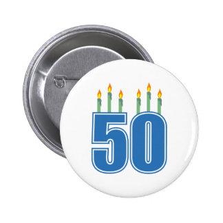 50 velas del cumpleaños (azul/verde) pins