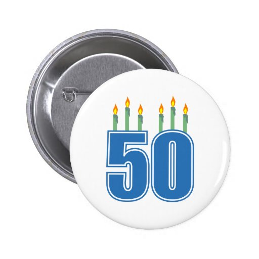 50 velas del cumpleaños (azul/verde) pin redondo de 2 pulgadas