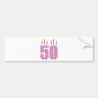50 velas del cumpleaños (rosa/púrpura) pegatina de parachoque