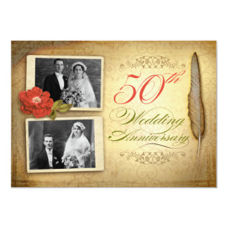 50 wedding anniversary two photos vintage invites