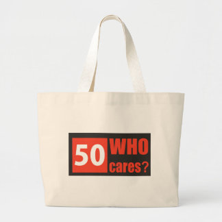 50 who cares large tote bag