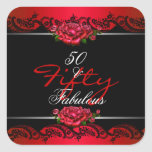 50 y 50.os rosas rojos fabulosos de la fiesta de calcomanías cuadradass personalizadas