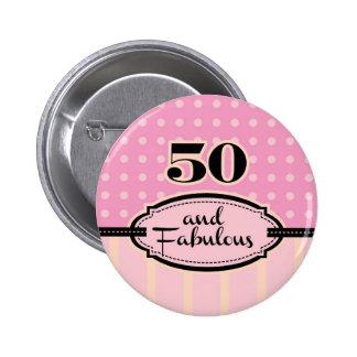 50 y botón fabuloso pin redondo de 2 pulgadas
