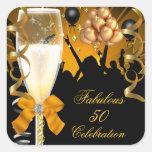 50 y cumpleaños fabuloso Champán del negro del oro Calcomanía Cuadrada Personalizada