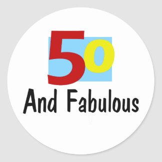 50 y fabuloso etiquetas redondas
