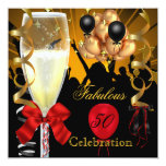 50 y fiesta de cumpleaños roja fabulosa del negro invitación