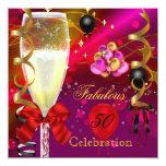 50 y fiesta de cumpleaños rosada fabulosa del invitación personalizada
