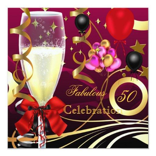 50 y fiesta de cumpleaños rosada fabulosa del invitación 13,3 cm x 13,3cm