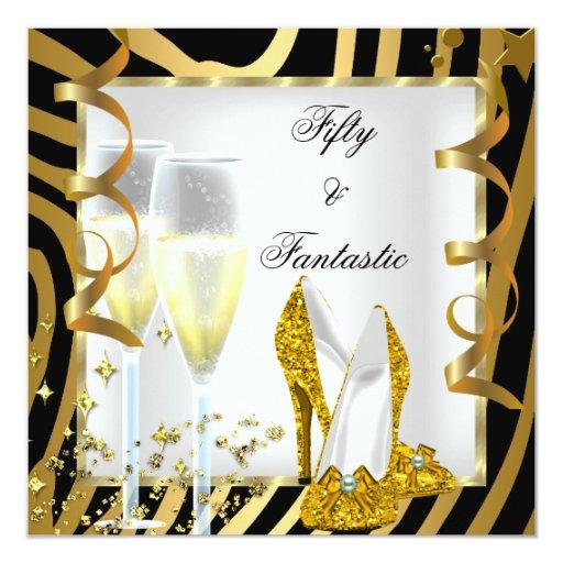 """50 y fiesta fantástico del oro blanco del negro de invitación 5.25"""" x 5.25"""""""