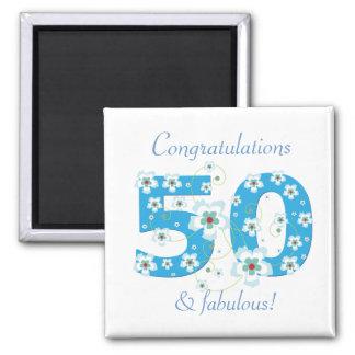 50 y imán fabuloso de la enhorabuena del cumpleaño