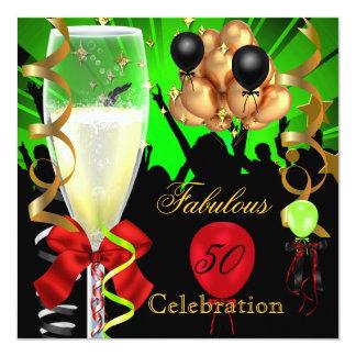 """50 y Partido Verde rojo fabuloso del negro del oro Invitación 5.25"""" X 5.25"""""""