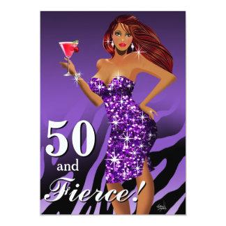 """50 y púrpura brillante atractiva feroz de la bomba invitación 5"""" x 7"""""""