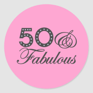 50 y regalo fabuloso etiqueta redonda