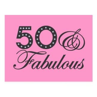 50 y regalo fabuloso tarjeta postal
